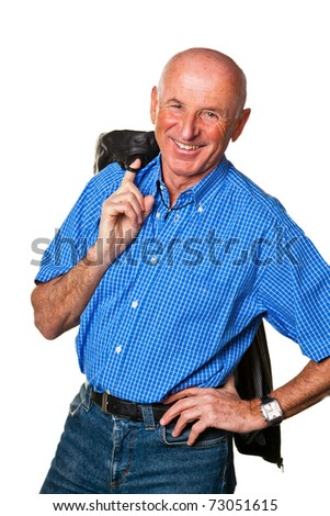Senior Portraits. Portrait of a friendly elderly man. Recording in the studio.