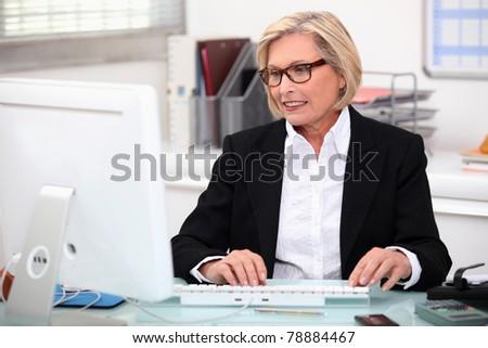 Senior secretary at work