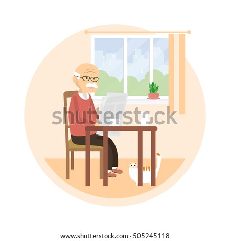 Senior sitting on a chair and reading a newspaper. Old man drinks tea with milk. White cat under the table. Happy life of older people concept.