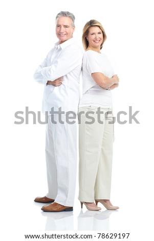 Senior smiling couple in love. Over white background