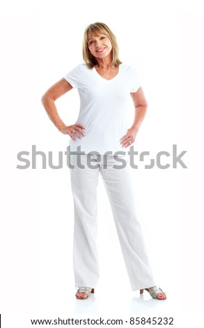 Senior smiling woman. Isolated over white background.
