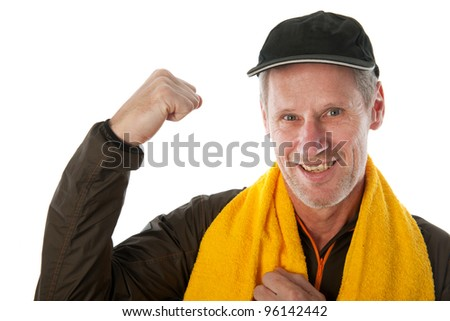 Senior sport man with cap and towel