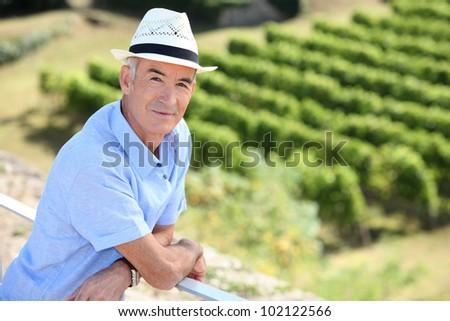 senior visiting a vineyard