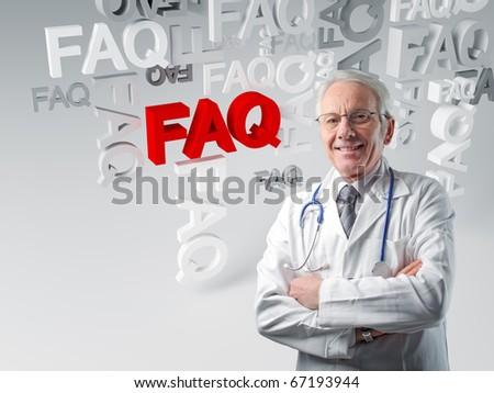 senior white doctor and 3d faq background