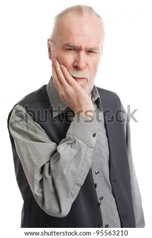 Senior with headache isolated on white background