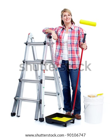 Senior woman doing renowation at home. Painter. Isolated on white background.