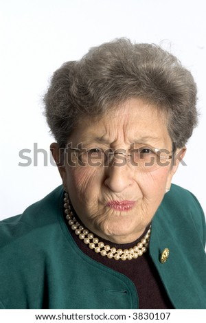senior woman elderly with skeptical questioning look on her face