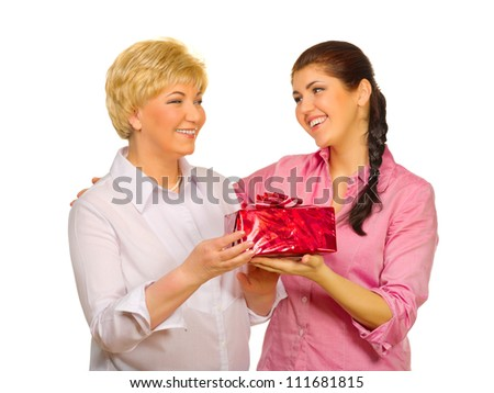 Senior woman giving gift to her daughter isolated