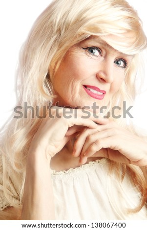 Senior woman Portrait of smiling beautiful mature woman 60 years old