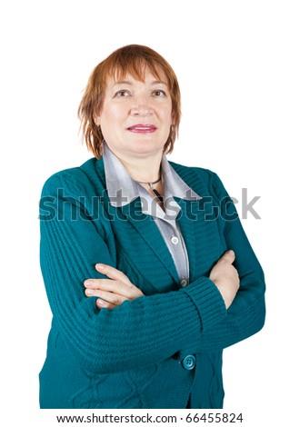 senior woman  portrait over a white background