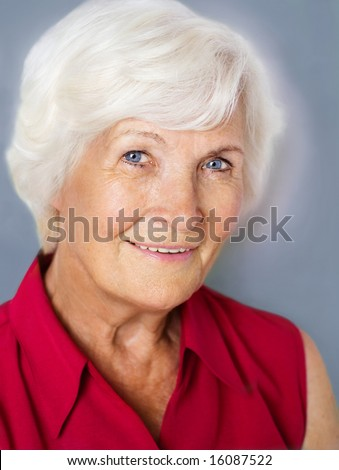 Senior woman portrait with red shirt