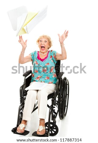 Senior woman screaming in frustration over her medical bills.  Full body isolated on white.