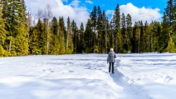 Senior woman walking through the Snow Covered Parking Lot of Spahats Falls in Wells Gray Provincial Park in the Cariboo Mountains of British Columbia, Canada