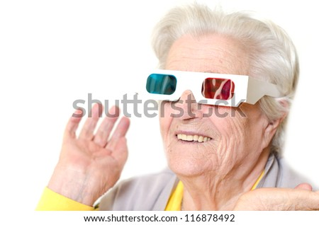 Senior woman wearing 3d glasses isolated on white background