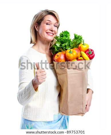 Senior woman with a grocery shopping bag. Isolated on white background.