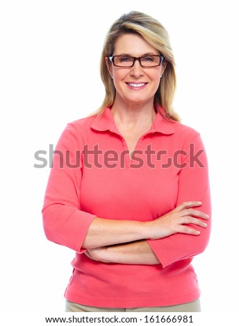 Senior woman with eyeglasses isolated white background
