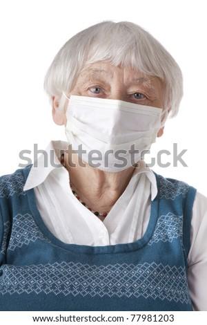Senior woman with flu mask