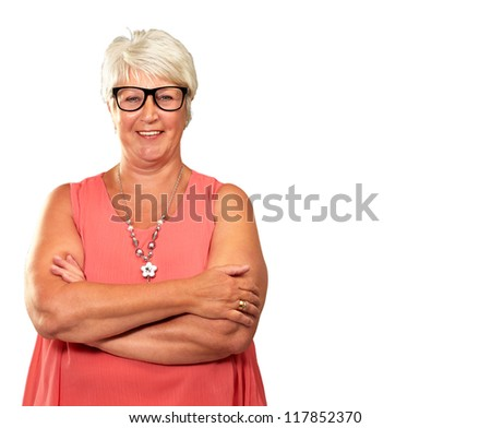Senior Woman With Hands Folded Isolated On White Background