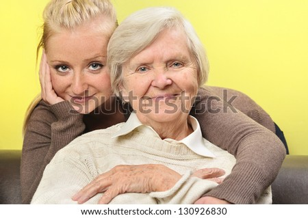 Senior woman with her granddaughter. Happy and smiling. MANY OTHER PHOTOS FROM THIS SERIES IN MY PORTFOLIO.