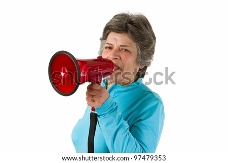 Senior woman with megaphone - isolated on white background