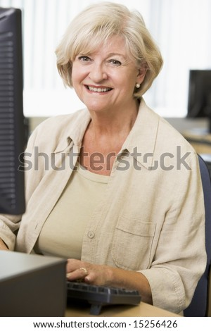 Senior woman working on a computer