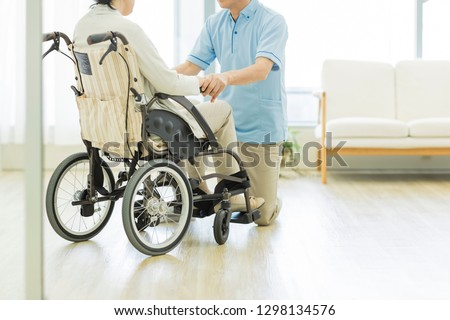 Senior women and caregivers