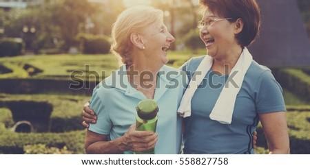 Senior Women Exercise Friendship Together #558827758