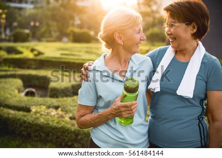 Senior Women Exercise Friendship Together
