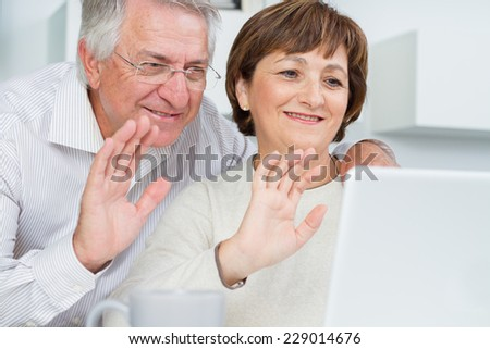 Seniors couple using a computer chatting via webcam and waving hands