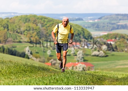 seniors joggers trained for his fitness by jogging