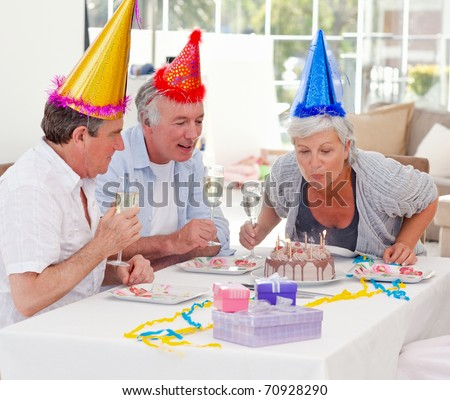 Seniors on birthday at home
