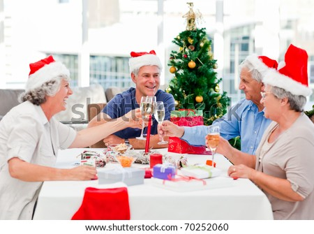Seniors on Christmas day at home