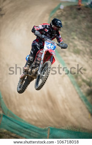 SENKVICE, SLOVAKIA - JUNE 30: Britt Van Der Wekken (NED) in the air on the race track at the Motocross World Championship WMX free practice on June 30, 2012 in Senkvice, Slovakia