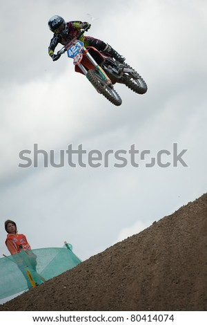 SENKVICE, SLOVAKIA - JUNE 26: Larissa Papenmeier (GER) in the air during jump at the Motocross World Championship WMX race on June 26, 2011 in Senkvice, Slovakia