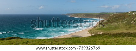 Sennen Cove Cornwall beach and coast near Land`s End tourist attraction panoramic view #739326769