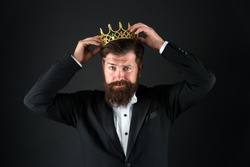 Sense of self importance. Big boss. King crown. Egoist concept. Businessman in tailored tuxedo and crown. Very important person. Important guest luxury party. Top manager. Important person award.