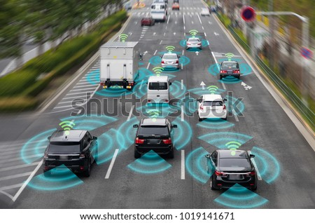 Sensing system and wireless communication network of vehicle. Autonomous car. Driverless car. Self driving vehicle. #1019141671