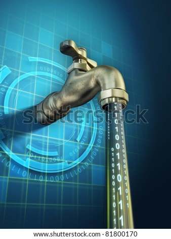 Sensitive information is leaking through an open faucet. Digital illustration.