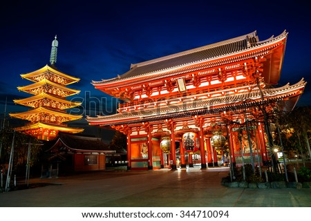 Senso-ji temple at twilight, Tokyo Japan