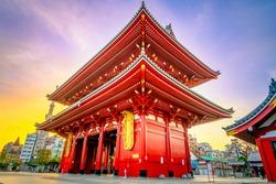 Sensoji at sunrise. Tokyo's oldest temple also known as Asakusa Kannon