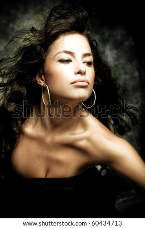 sensual brunette woman portrait, studio shot