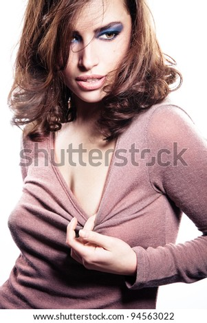 sensual brunette woman, studio shot