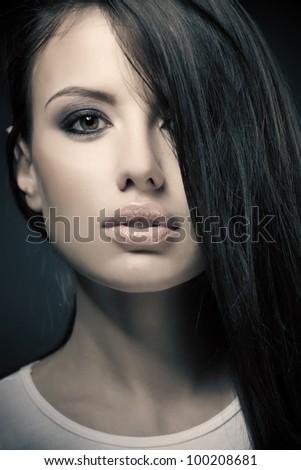 sensual closeup portrait, studio shot - stock photo