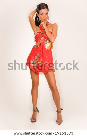 Sensual girl in fashion dress, studio isolated