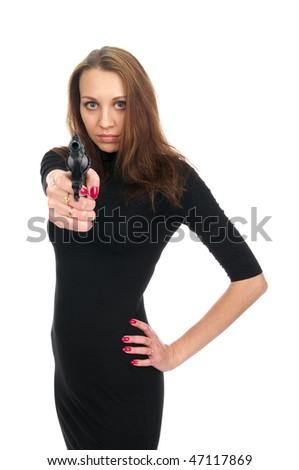 Sensual girl with a gun aiming to you