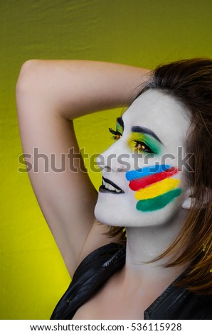 Sensual girl with colorful bodyart and face art     - Shutterstock ID 536115928