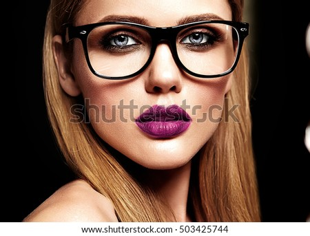 cefe0503691 sensual glamour portrait of beautiful blond woman model with fresh daily  makeup with purple lips color