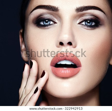 sensual glamour portrait of beautiful  woman model lady with fresh daily makeup with nude lips color and clean healthy skin face  #322942913