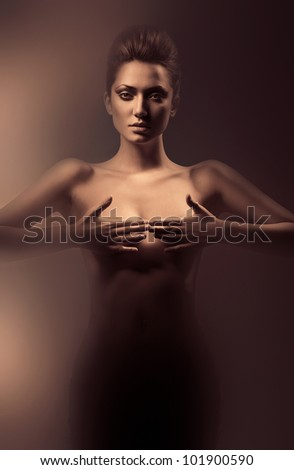 sensual nude woman in dirty mist