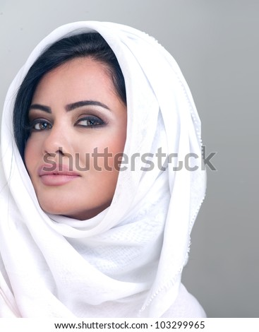 sensual portrait of a fresh beauty arabian girl with hijab